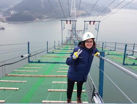Zoe on the Namhae 2nd Bridge