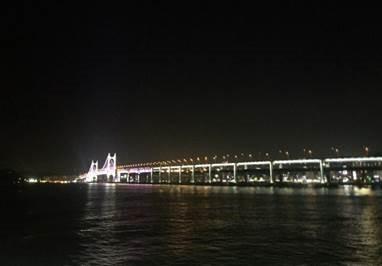 Photo of the Gwangandaegyo Bridge at night